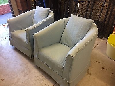 light blue art deco style tub chairs - very comfy