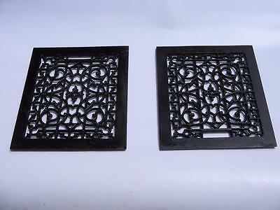 Antique Cast Iron Wall Art-Matching Pair Of Ornate Grille/ Grates