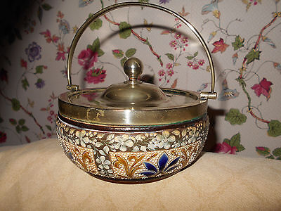 Royal Doulton Lambeth Biscuit Barrel Jar~Tinworth Style w/Silver Handle c.1886
