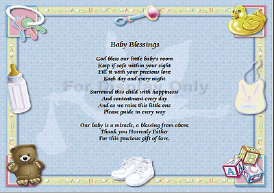 Baby Blessing Poem on beautiful background card - Gift idea Baby Boy or Girl