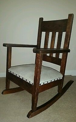 Antique oak arts & crafts mission child's rocking chair youth spring seat