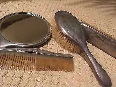 Antique Sterling Silver Brushes, Grooming Set - 1908 'MGF' SO & Co. Birmingham