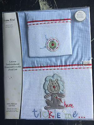 Bubba Blue _ Bassinet Cradle Sheet Set - 3 Piece Embroidered 100% Percale Cotton