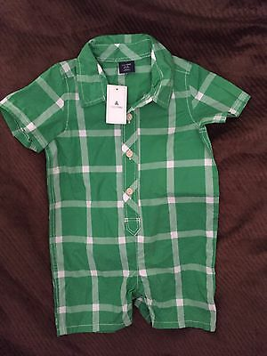 Gap Baby NWT Green Plaid Romper With Snaps Size 6-12 Months