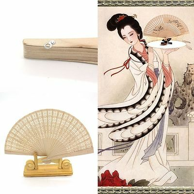 Wedding Hand Fragrant Party Carved Bamboo Folding Fan Chinese Style Wooden