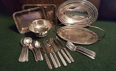 silver dish, platter, and silverware lot