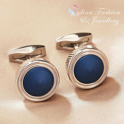 18K White Gold Plated Simulated Opal Round Shaped Hot Men`s Cufflinks