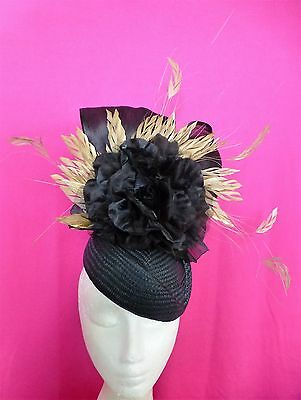 Black Gold Flower Feathers Hat Fascinator Feathers Races Wedding