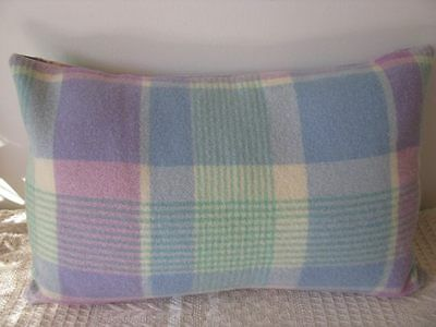 Cushion Cover - Up-cycled vintage woollen blanket 14x21 in mint blue lilac cream