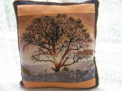 Cushion Cover Patchwork and Sunset Tree Cross Stitch