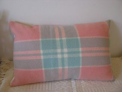 Cushion Cover - Up-cycled vintage woollen blanket 14x21 in peach mint cream