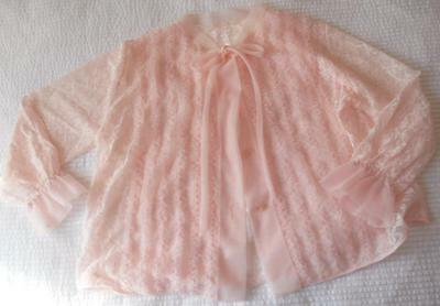 Vintage 1960's Osti Pink Nylon Lace With Frill Trim Bedjacket Ssw 3/4 Sleeve