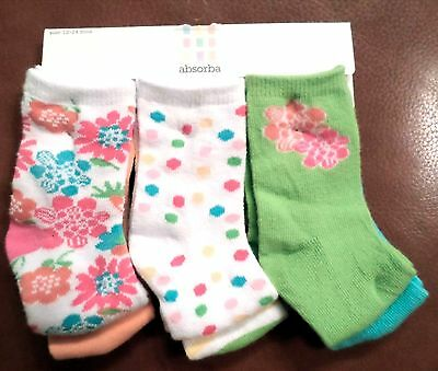 Absorba Baby Girls 6 Pair Ankle Socks Flowers/Dots Cotton Blend Multi 12-24 Mo
