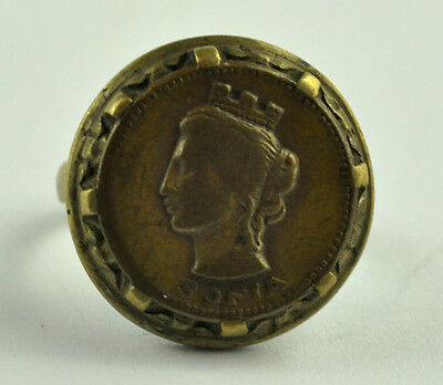 Vintage Outstanding Lady`s Jewelry Woman Head Bronze Greek Ring Saint Sofia