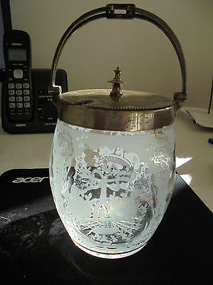 Antique etched glass biscuit barrel