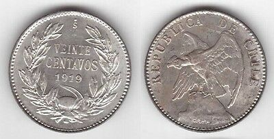 Chile - Silver 20 Centavos Au Coin 1919 Year Km#151.3