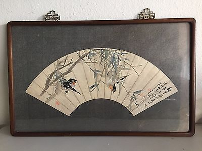 Antique Framed Chinese Fan Shaped Watercolor Painting Leaves and Birds by 朱夢廬