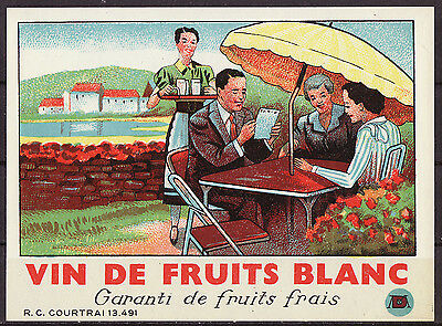 1920s French Wine Label - Outdoor French Restaurant Scene
