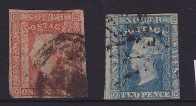 NSW 1856-60 1d Red & 2d Blue QV SMALL DIADEM PAIR USED   (DD63)