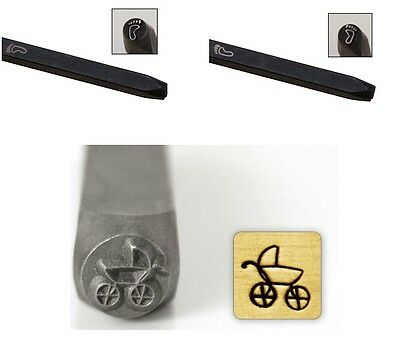 Baby Footprint (Left & Right) and Baby Carriage Metal Stamping Set * Brand New *