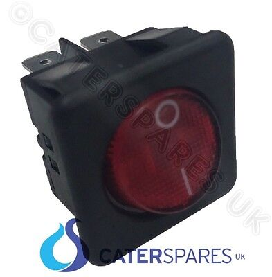 16A Red Neon Rocker Switch Power On Off Double Pole 4 Pin 25X25 Square Ip40