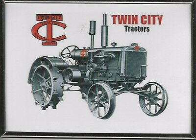"NEW TWIN-CITY TRACTOR PiCTURE WITH LOGO SILVER METAL FRAME 5"" X 7"""