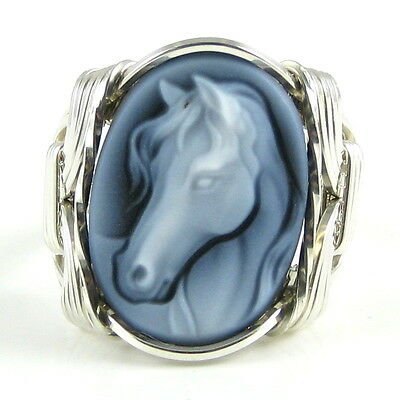 Horse Black Agate Stone Cameo Ring .925 Sterling Silver Jewelry Any Size