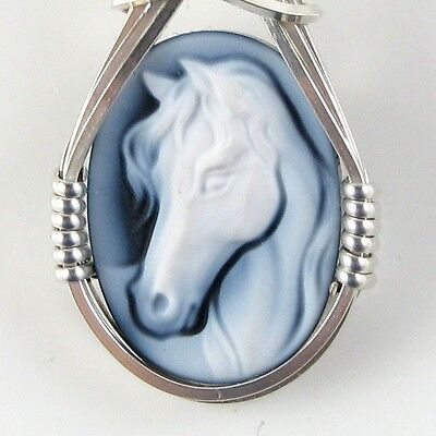 Horse Black Agate Oval Stone Cameo Pendant Sterling Silver Jewelry 1.58 CT