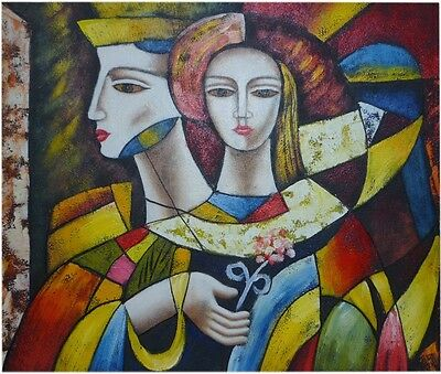 Original oil painting Cubism Man and Woman 50 x 60 cm