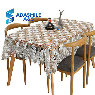 Adasmile Semi-hollow Crochet Lace Table Cover Cloth Chic Overlays Tablecloth