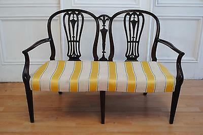 SALE ! Antique Hepplewhite Mahogany Settee / Loveseat - Prince of Wales Carving