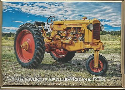 """New 1951 Minneapolis-Moline Rtn Tractor Picture In Copper Metal Frame 5"""" X 7"""""""