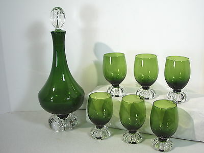 Decanter Glasses Green Set of 7 Aseda Glass Swedish Modern Borgstrom PaperWeight