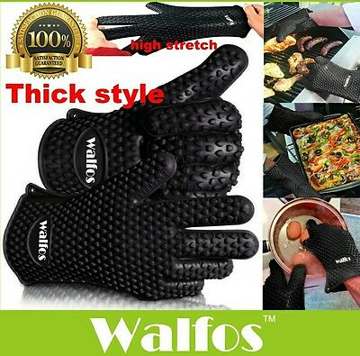 WALFOS food grade Heat Resistant thick Silicone Kitchen barbecue oven glove