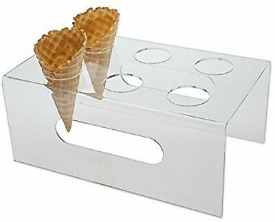 Source One Deluxe 6 Hole Clear Food Grade Acrylic Ice Cream Cone Holder With