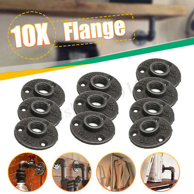 "1-10x 1/2 3/4"" Malleable Threaded Floor Flange Iron Pipe Fittings BSP Wall Mount"
