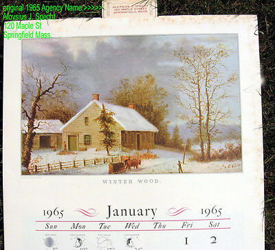 """""""The 1965 Calendar of Currier & Ives Prints"""" The Travelers Insurance Company"""