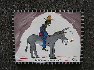 Southern Transport (Folk Art Painting On Wood) Signed & Dated