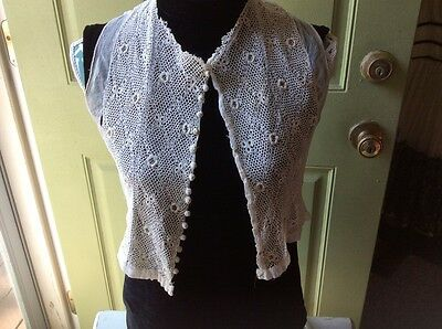 ANTIQUE Vintage COTTON IRISH LACE BODICE With CROCHETED BUTTONS To Repurpose