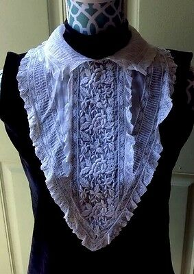 ANTIQUE Vintage EMBROIDERED FINE COTTON BATISTE Bodice & Collar With LACE Repair