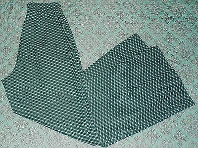 Womens Plus Size VTG 16 Wide Leg High Waist Green White Polyester Pants WOW!