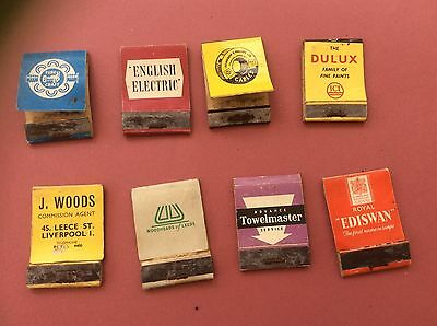 8 Vintage Old Advertising Industrial Book Matches Matchbooks