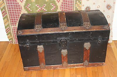 Antique Steamer Trunk Dome Top Victorian Chest Stagecoach Tin