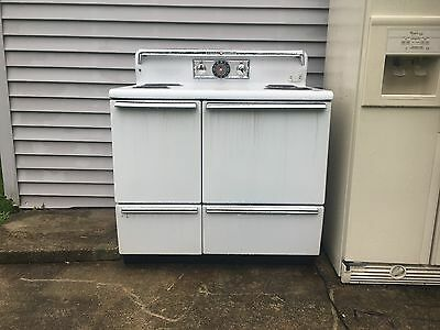 General Electric white old timey stove