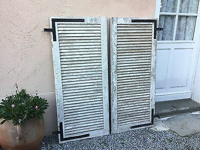 "Vintage French Rustic Louvre Window Shutters Salvage ""4 Sets Available"""