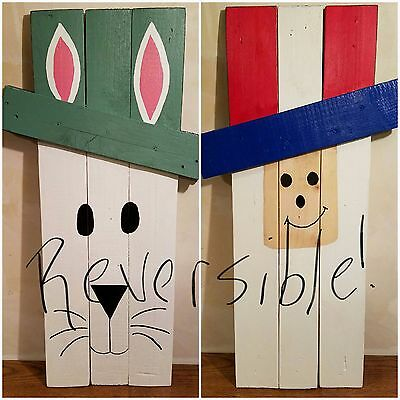 Reversible Easter Bunny and Uncle Sam wooden decoration