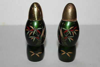 Gorgeous Vintage Green Salt and Pepper Shakers- Hand Painted