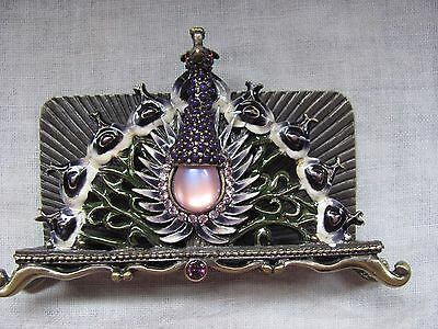 Ornate Peacock Jeweled Pink and Purple Desktop Business Card Holder Stand