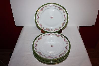 Vintage DINNER PLATES- Green and Gold/ Floral- Austria- Set of 6