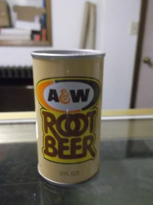 1970's Straight Steel A & W Root Beer can pop pull-tab top open